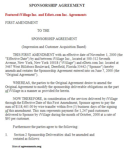Sponsorship Agreement, Sample Sponsorship Agreement Template - sponsorship agreement