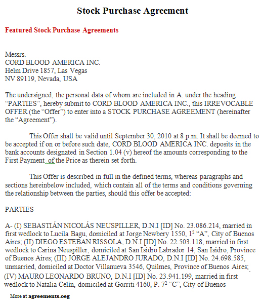 Stock Purchase Agreement, Sample Stock Purchase Agreement Template - sample purchase and sale agreement template
