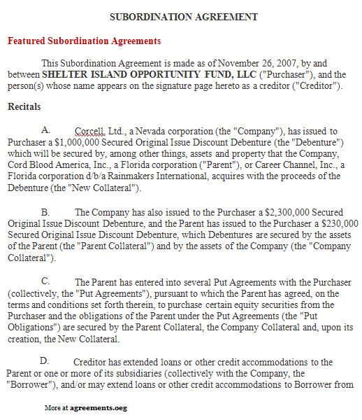 Subordination Agreement, Sample Subordination Agreement Template - subordination agreement template