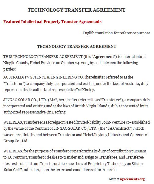 Technology Transfer Agreement, Sample Technology Transfer Agreement - transfer agreement