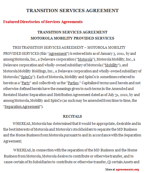 Transition Services Agreement, Sample Transition Services Agreement - business service agreement