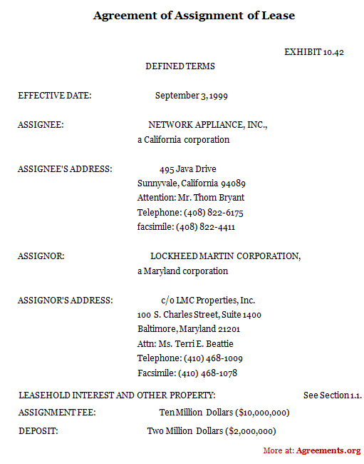 Agreement of Assignment of Lease, Sample Agreement of Assignment of - define rental agreement