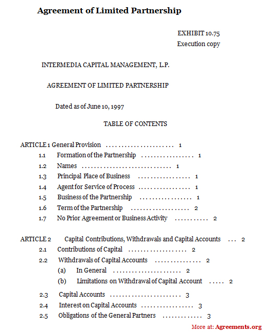 Agreement of Limited Partnership, Sample Agreement of Limited - real estate partnership agreement