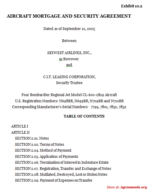 Aircraft Mortgage and Security Agreement, Sample Aircraft Mortgage