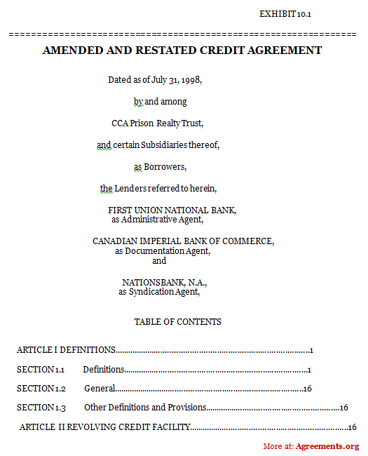 Amended and Restated Credit Agreement, Sample Amended and Restated - credit agreement