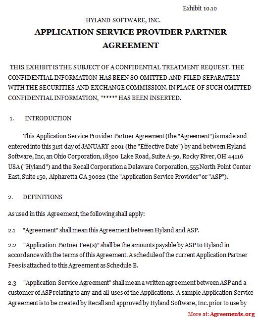 Application Service Provider Partner Agreement, Sample Application