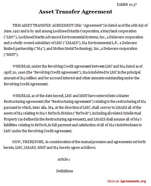 Asset Transfer Agreement, Sample Asset Transfer Agreement