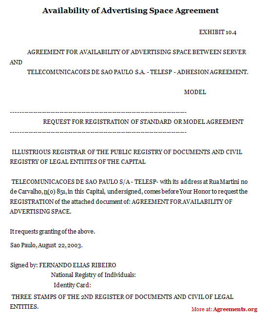 Advertising Contract Agreement Part Of A HavasVendor Contract