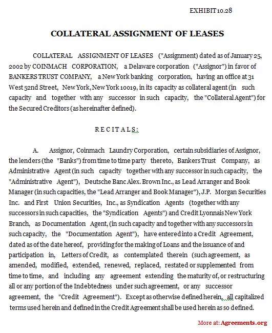 Collateral Assignment of Leases Agreement, Sample Collateral