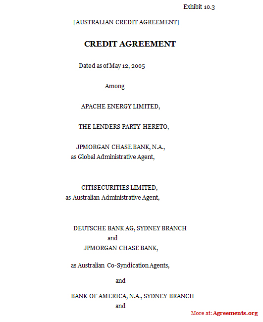 Credit Agreement, Sample Credit Agreement