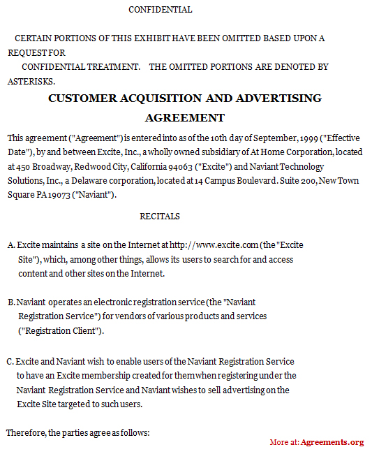 Customer Acquisition and Advertising Agreement, Sample Customer