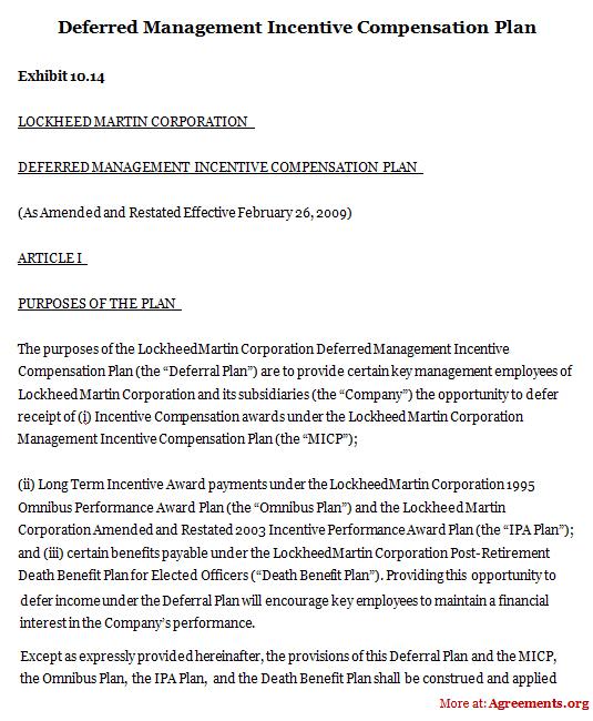 Deferred Management Incentive Compensation Plan, Sample Deferred - compensation plan template