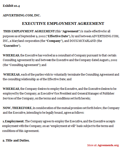 Executive Employment Agreement, Sample Executive Employment Agreement