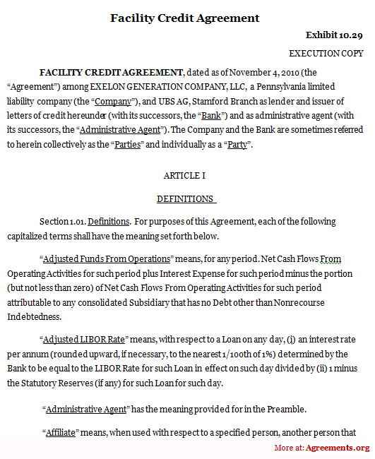 Facility Credit Agreement, Sample Facility Credit Agreement
