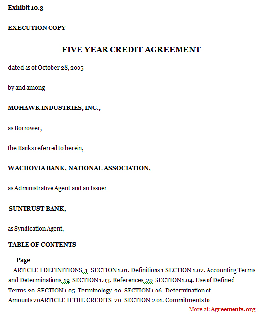 Five Year Credit Agreement, Sample Five Year Credit Agreement