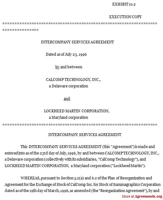 Intercompany Services Agreement, Sample Intercompany Services Agreement