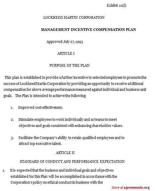 Management Incentive Compensation Plan, Sample Management - compensation plan template
