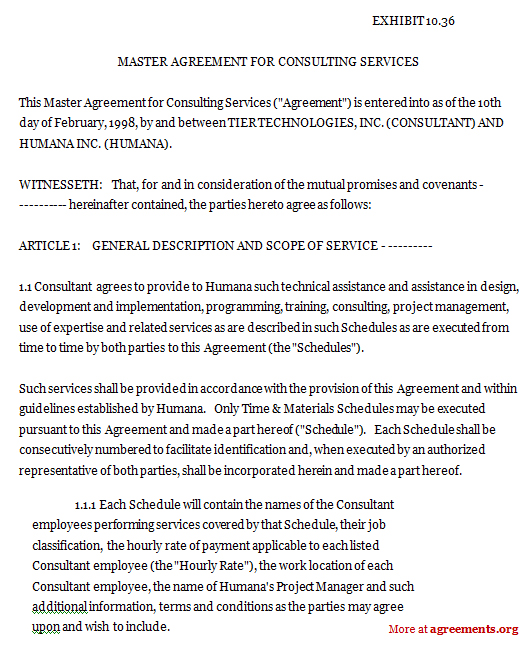 Consulting Services Agreement Master Agreement For Consulting - consulting retainer agreement