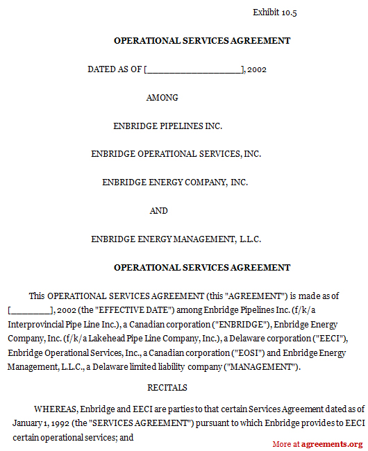 Operational Services Agreement, Sample Operational Services - sample master service agreement