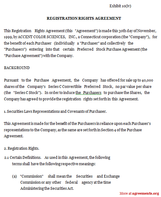 Registration Rights Agreement, Sample Registration Rights - sample stock purchase agreement