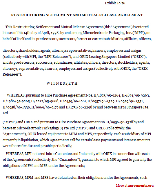 Restructuring Settlement and Mutual Release Agreement, Sample