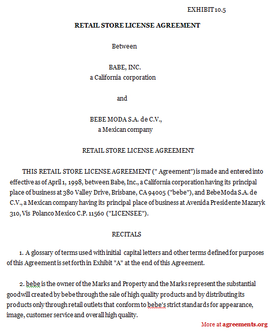 Retail Store License Agreement, Sample Retail Store License Agreement