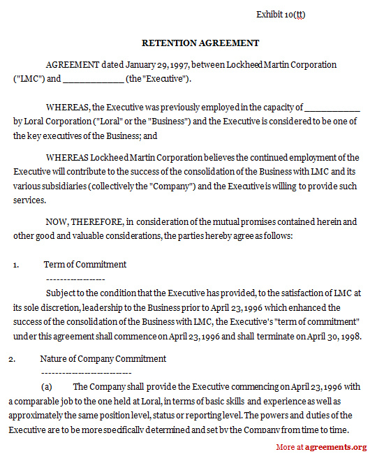 Sample Of One Year Employment Contract – Sample Executive Agreement