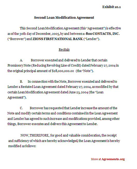 Modification Agreement Template | Loan Agreement Sample Download Resume Pdf Download