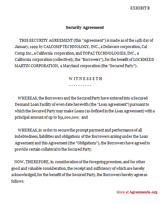 Security Agreement Agreementsorg - sample security agreement