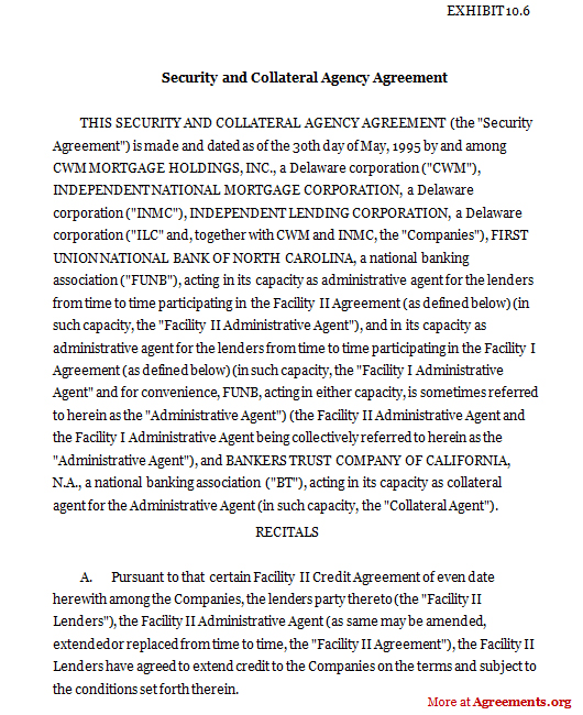 Security and Collateral Agency Agreement, Sample Security and