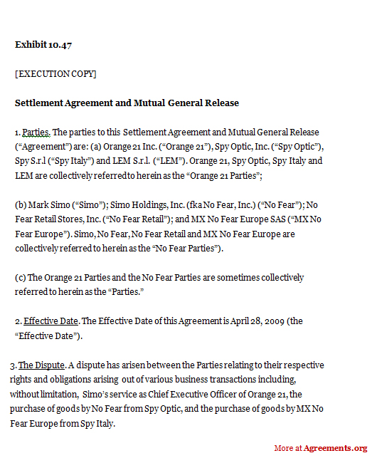 Release Agreement Sample Settlement Agreement Image Result For - mutual agreement contract