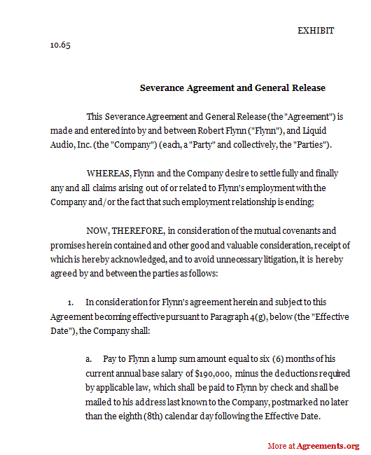 Severance Agreement and General Release, Sample Severance Agreement