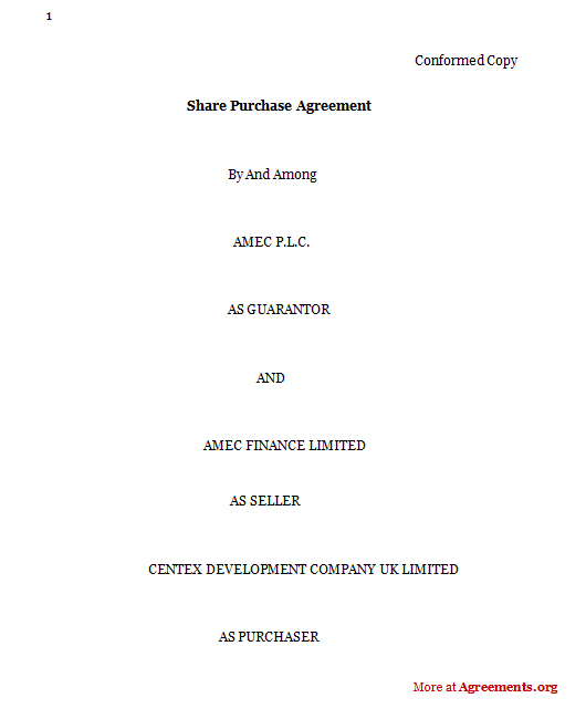 Share Purchase Agreement, Sample Share Purchase Agreement - purchase agreement samples