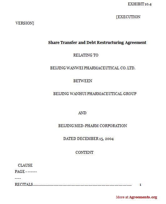 Share Transfer and Debt Restructuring agreement,Sample Share