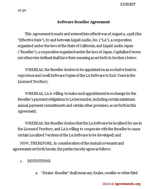Software Reseller Agreement, Sample Software Reseller Agreement - sample reseller agreement