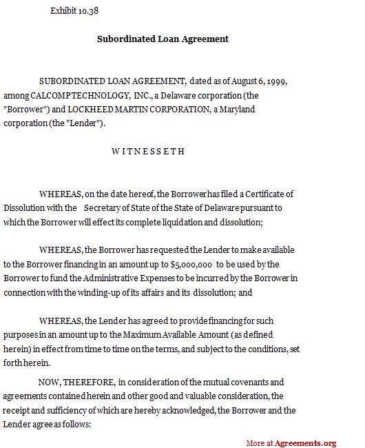Subordinated Loan Agreement,Sample Subordinated Loan Agreement - subordination agreement template