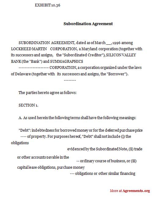 Subordination Agreement,Sample Subordination Agreement - subordination agreement template