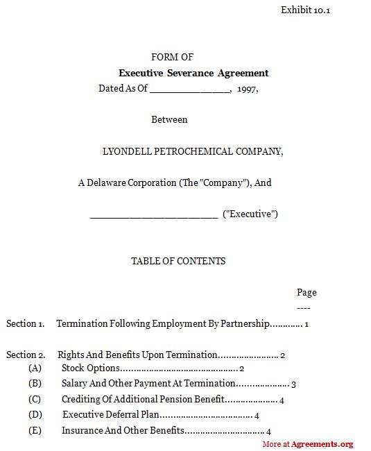 Executive Severance Agreement,Sample Executive Severance Agreement - sample severance agreement