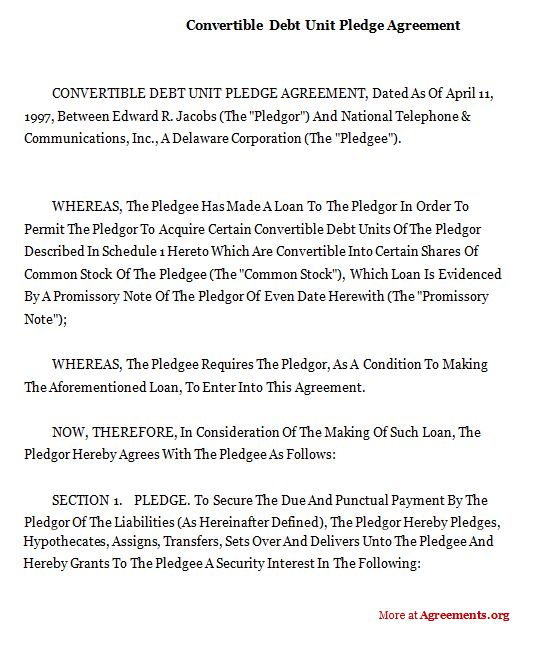 Convertible Debt Unit Pledge Agreement,Sample Convertible Debt - convertible note agreement template