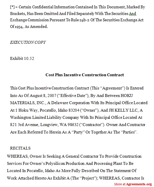 9+ Sample Of Construction Contract Parts Of ResumeConstruction - production contract agreement