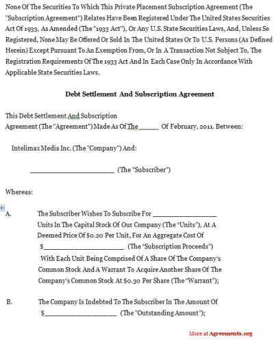 Debt Settlement And Subscription Agreement,Sample Debt Settlement And Subscription Agreement