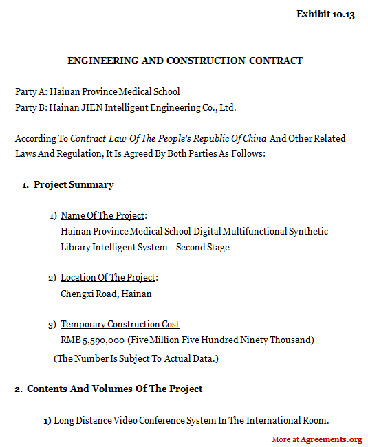 Engineering And Construction Contract Agreement,Sample Engineering