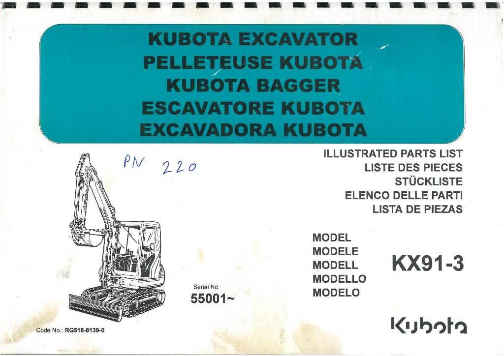 Kubota Excavator KX91-3 Parts Manual - SER NO 55001-
