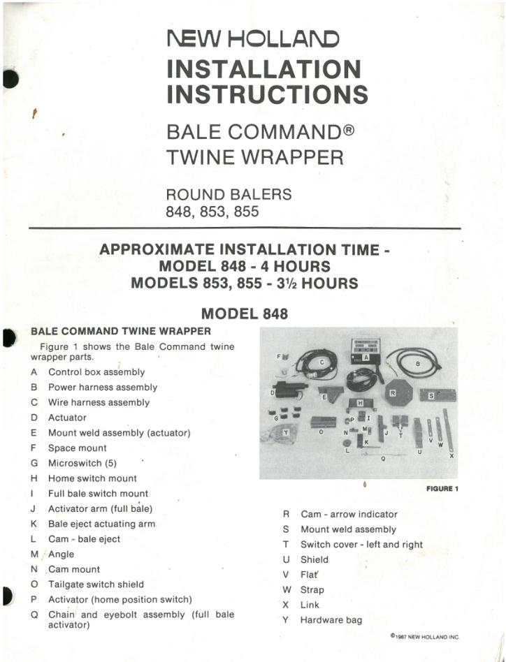 New Holland Bale Command Installation Instruction Manual For Round - instructional manual