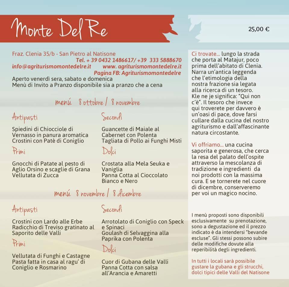 Pagina agriturismo Monte del Re - Invito a pranzo