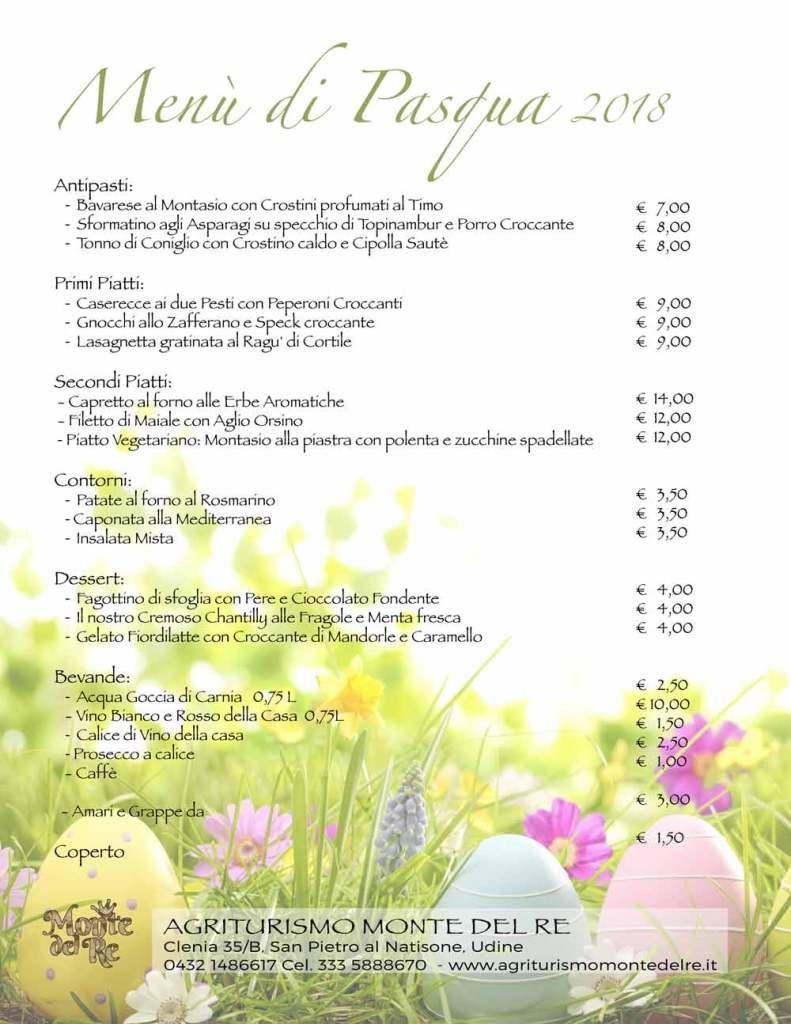 Menù di Pasqua al Monte del Re