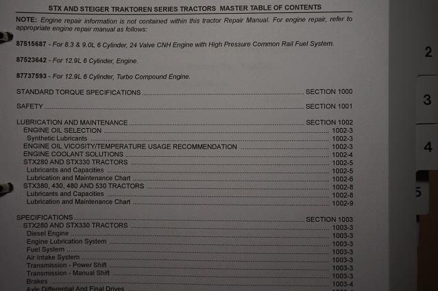 Case Tractor STX 280 330 380 430 480 530 Service Workshop Manual