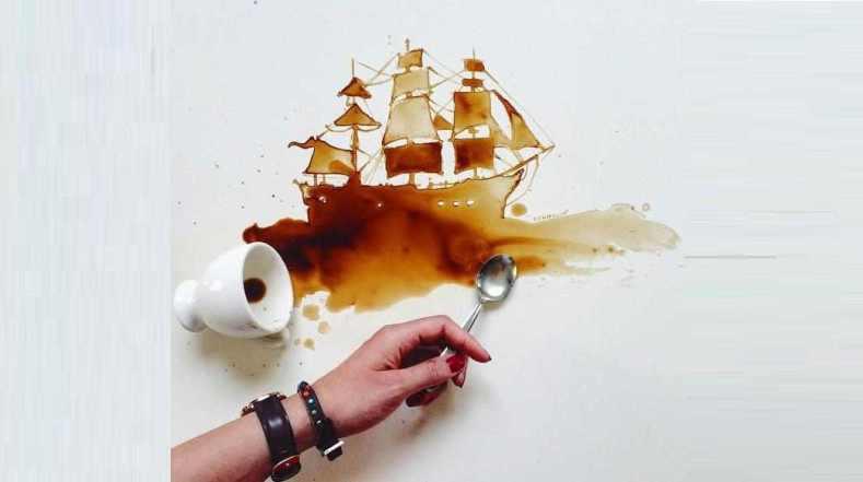 رسم لوحات بالقهوة و العسل و الشوكولاتة