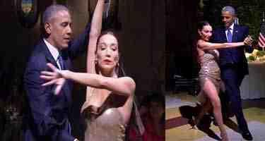 بالفيديو أوباما يرقص التانغو مع راقصة أرجنتينية
