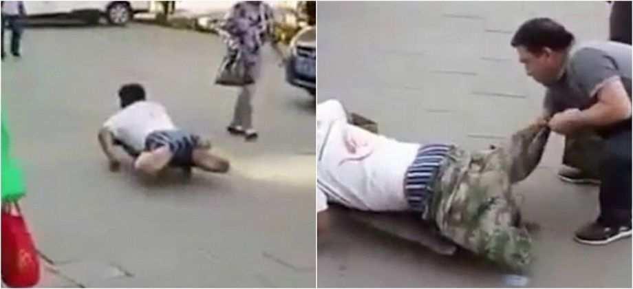 بالفيديو فضح متسول يدعي الإعاقة أمام المارة !